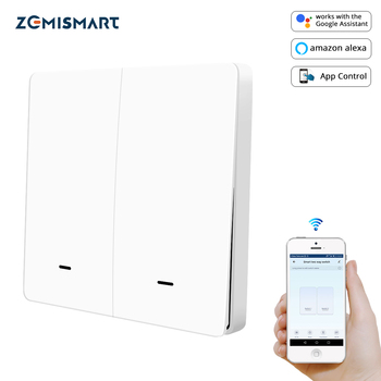 Interrupteur de lumière WiFi Zemismart Alexa Echo Google Home Tuya 2 Gangs 1 Gang commutateurs physiques avec bouton-poussoir