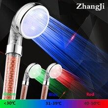 Zhang Ji Shower SPA 3 цвета светодиодный светильник для душа контроль температуры воды светодиодный видимая душевая головка минеральный фильтр душевая головка подарок
