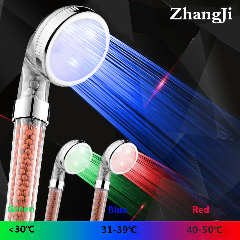 Spa 3 colors LED bath shower water temperature led head light mineral filtered stones ZJ082