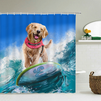 Funny Surf Drifting Dog Shower Curtain Waterproof Polyester Fabric Printing Bath Curtain Bathroom large 240x180 with Hooks image
