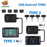 DVD Android TPMS, alarma de neumáticos USB, sistema de supervisión de presión de neumáticos 4, sensor externo/interno de temperatura, Alarma interna