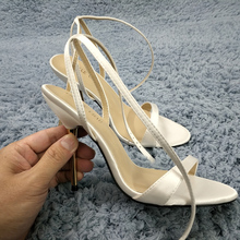 Sexy Ivory Satin Sandals High Heel Slimmer Dress Party Women Sandals Summer New Open Toe Ankle Strap Stiletto 11cm Heel Shoes