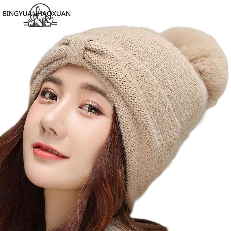 Winter Hat Women Knitted Pom Poms Wool Rabbit Fur Cap For Girl s Female Beanies 2019 Brand New