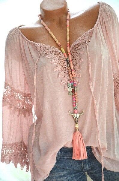 Blusa holgada informal con manga larga para verano, camisa de encaje con cuello en V para mujer, 2021 5