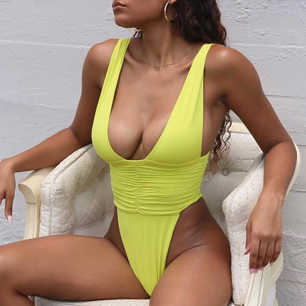 ZTVitality Fold Swimwear Women 2020 Hot Sale Solid Push Up Swimsuit Monokini Sexy V-Neck Thong One Piece Female Bathing Suit S-L