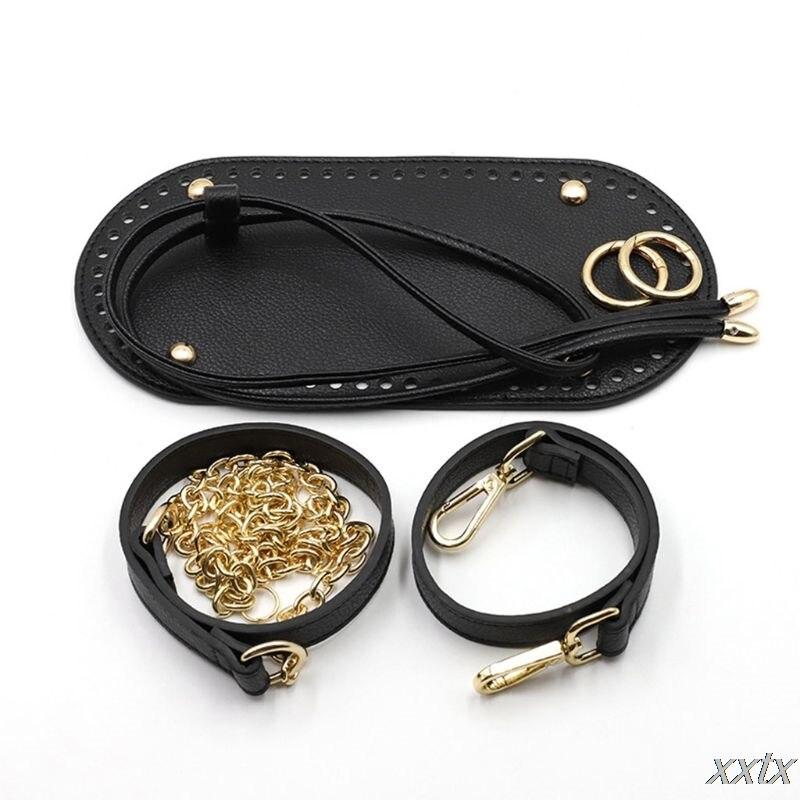 5Pcs/Set DIY Crochet Handbag Accessories Faux Leather Shoulder Strap Bag Bottom A69C