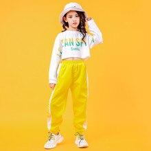 2019 Childrens Jazz Dance Costumes Girls Hip Hop Wear White sweatershirt Yellow Pants Street Dance Performance Clothings