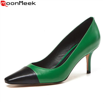 MoonMeek 2020 New Brand fashion women pumps genuine leather high heels shoes summer shallow ladies party shoes mixed colors
