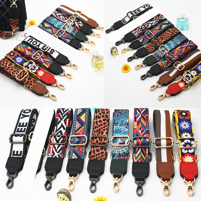 Colored Striped Bag Straps Diy Bag Accessories Parts Replacement Shoulder Belts Handbag Strap Long Bands Handle Gold Buckle