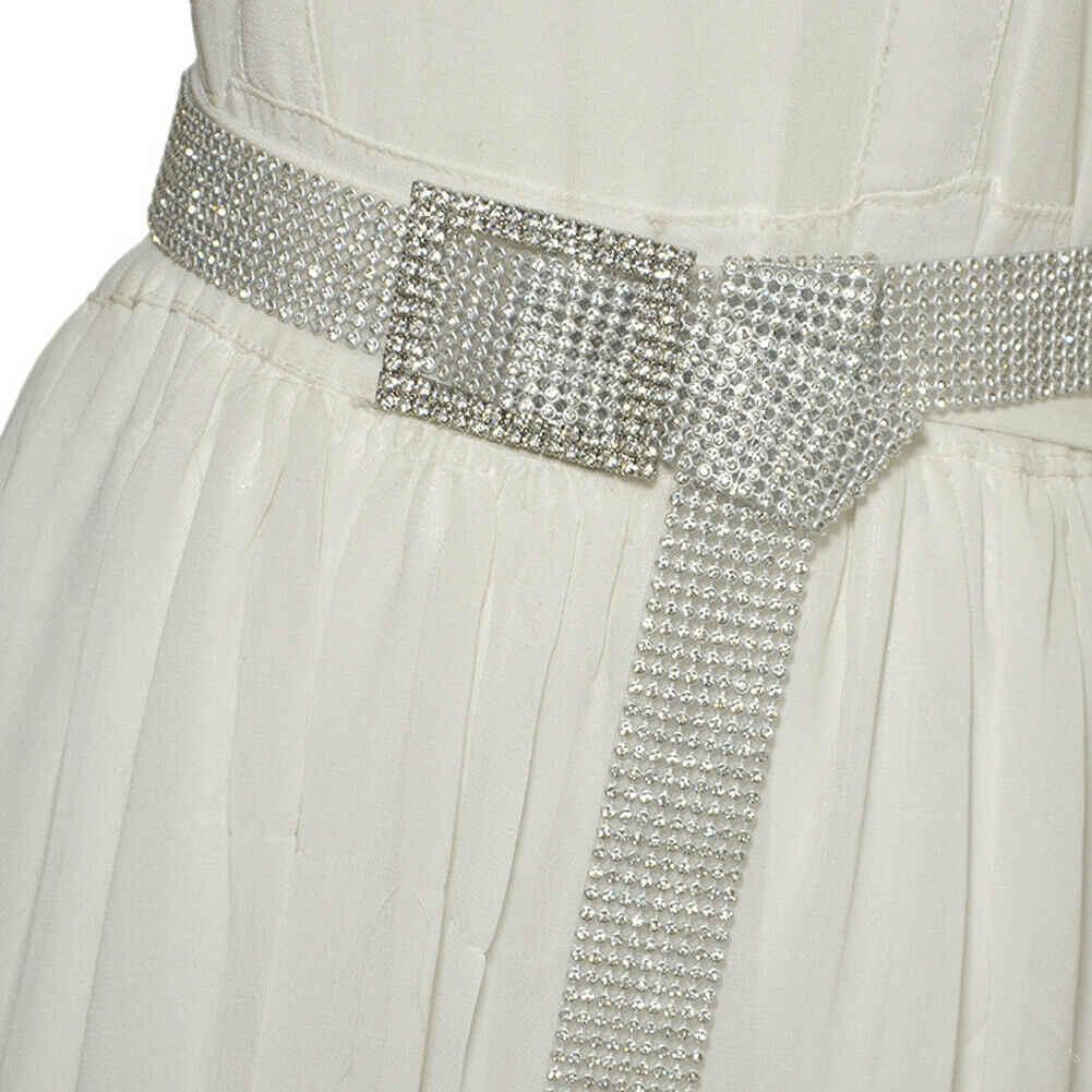 120 センチメートル女性のベルトウエストチェーンフルダイヤモンドラインストーンクリスタルベルト高級大型パーティーベルト