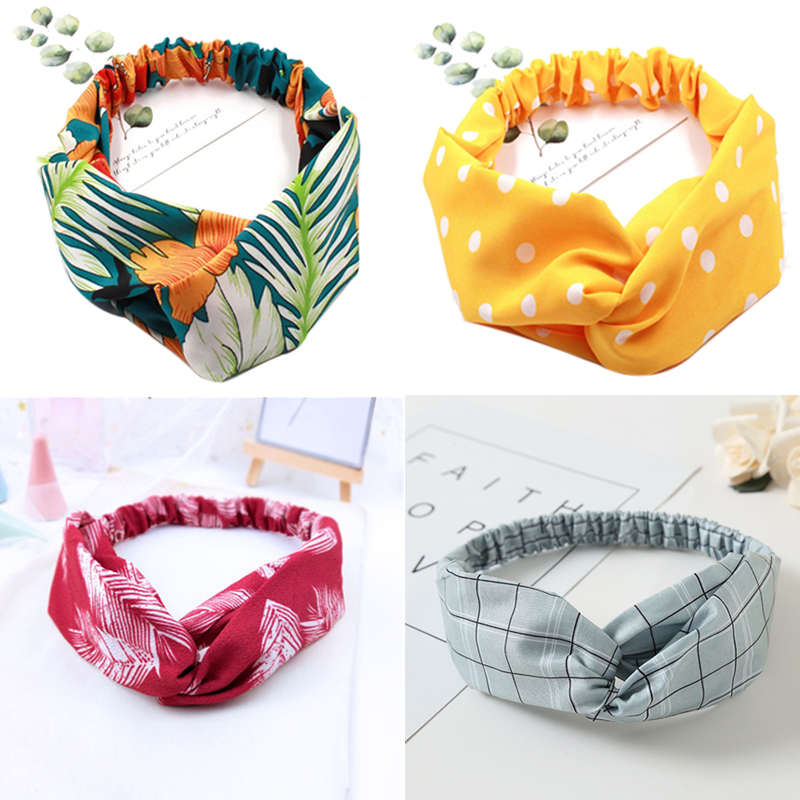 Women's Trendy Spring Summer Chiffon Headbands Cartoon Floral Print Wide Bands Turban Headwear Headwrap Hair Accessories