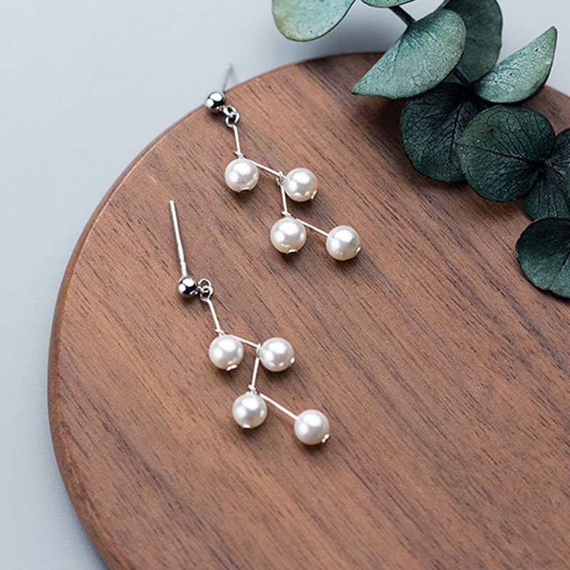 Long Shell Pearls Wave Dangle Earring Drop Earrings Silver 925 Pearl Fashion Jewelry Women Accessories aretes de mujer kolczyki