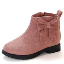 JGSHOWKITO Autumn Winter Girls Boots Fashion Rubber Boots For Kids Childrens Ankle Boots Princess Sweet Warm Shoes Big Bow knot