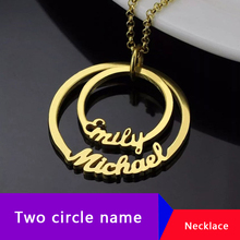 Circle Pendant Personalized Name Necklace Collier Personalized Two Nameplate Necklaces Pendents Stainless Steel Custom Jewelry romantic custom infinity name necklace personalized two nameplate promise charm necklaces valentine s day gift women jewelry bff