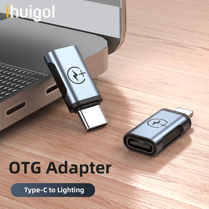 Ihuigol Mini OTG Adapter Type C To Lighting Male For IPhone 11 Pro Max USBC Connector For Samsung S9 S10 Charging Data Converter