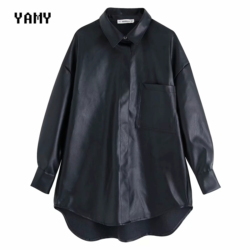 PU Leather Womens Oversized Blouse Shirt Long Sleeve Zora Vicky Womens Tops And Blouses Faux Leather Loose Blouses Black Za Tops