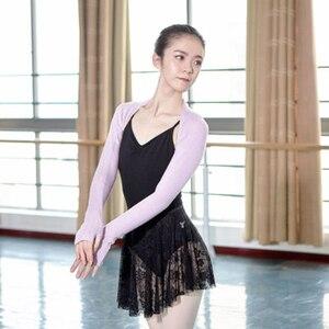 Image 5 - Top de Ballet para mujer, de 6 colores traje de baile, cálido, de punto, de manga larga, para Otoño e Invierno