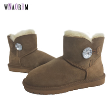 Snow-Boots Women Crystal-Button Flat-Sheep-Shoes Classic-Style Winter Sheepskin Wool
