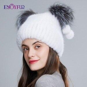 Image 4 - ENJOYFUR chapeau en fourrure véritable pour femmes, avec pom poms en fourrure, joli chapeau de style doreille pour chat, hiver et automne
