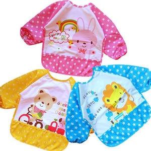 Babero de manga larga para niños, babero, delantal impermeable, pintura artística, delantal, babero de alimentación, blusa para niños pequeños