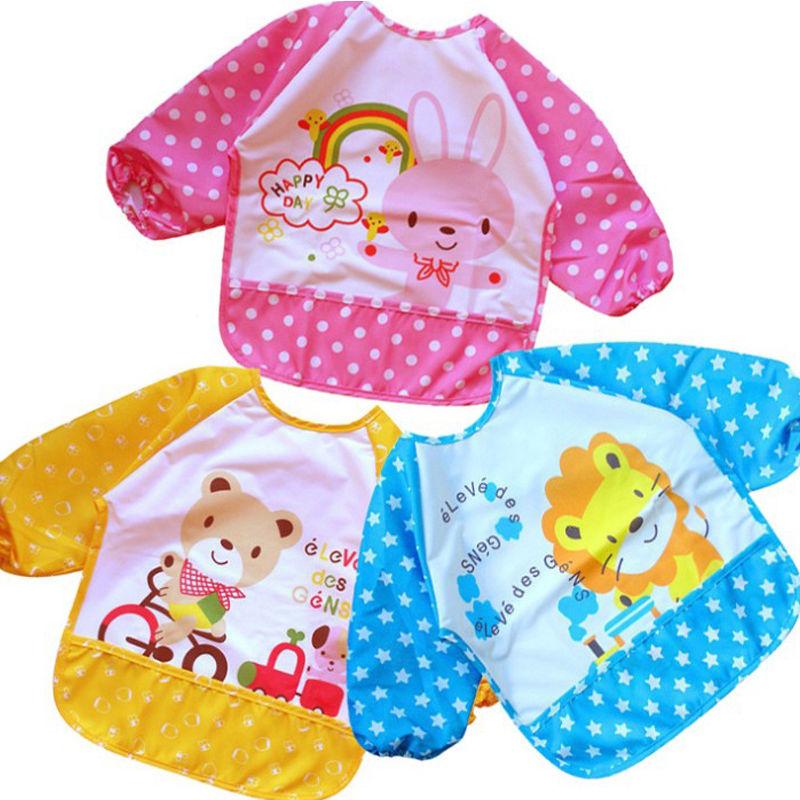 Long Sleeve Children Baby Bibs Bib Apron Waterproof Coverall Art Craft Paint Smock Feeding Bib Blouse Toddler Children