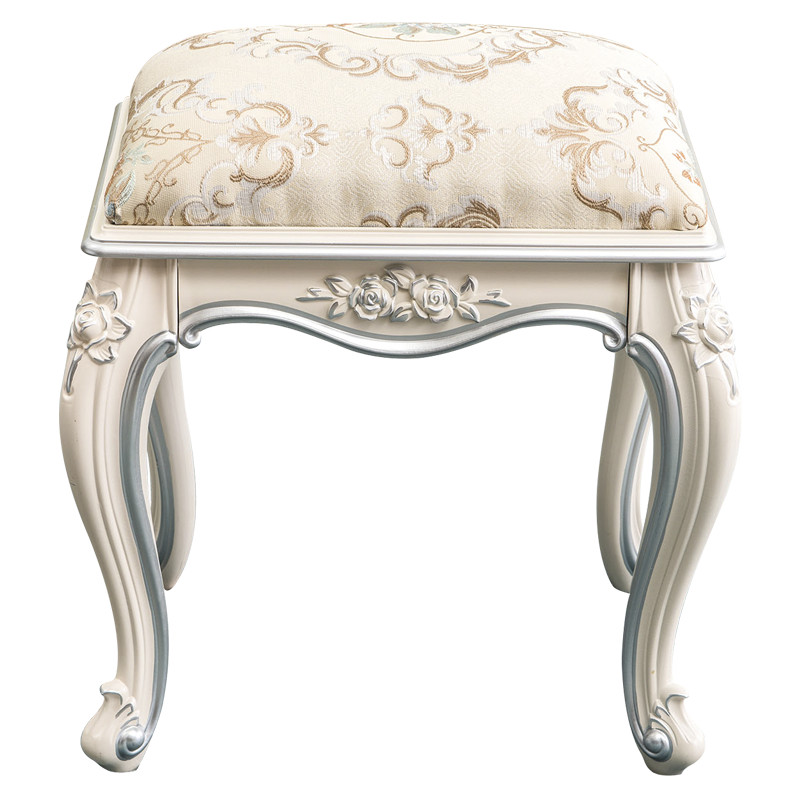 Dressing stool European ivory white makeup carved sofa bench for shoes  PU leather art table dressing