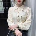 2021 на весну в Корейском стиле Стиль открытые простые женские топы и блузки Сладкая гофрированная рубашка с длинными рукавами для женщин жен...