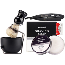 Men Luxury Shaving Brush Set 6Pcs Beard Care Shaving Bowl Kit Black series 6-piece suit men's facial care shaving shaving cream
