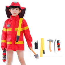 Halloween Cosplay Boys Kid Clothes Firemen Uniform Coat Matching Fire Cap Toys Carnival Role Play Girl Jacket Prom Gown Costume