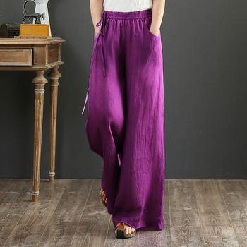 2020 kobiet nowy Vintage Casual jednolity kolor spodnie elastyczny wysoki stan szerokie spodnie nogi kobiet Plus rozmiar luźna bawełniana lniane spodnie Z176 tanie i dobre opinie luyaoskyen Z bawełny i lnu Pełna długość Stałe Pani urząd Plisowana LOOSE Dla osób w wieku 18-35 lat NONE Laminowane tkaniny