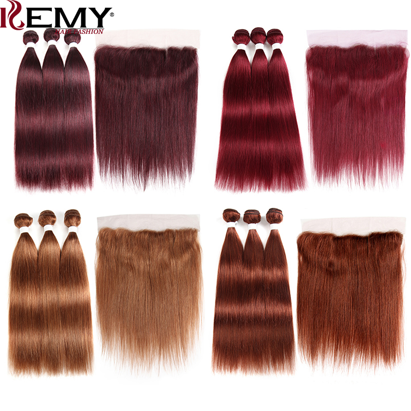 Human-Hair-Bundles Closure Frontal Straight 99j/burgundy Pre-Colored Brazilian with 13x4