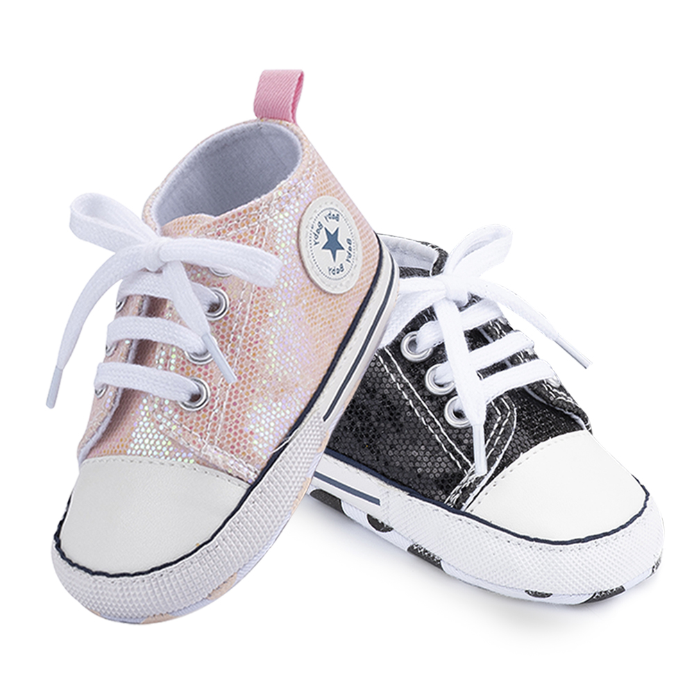 2019 New Color Newborn Baby Girl Shoes Pink Princess Soft Anti-Slip Bling Flash First Walkers Canvas Crib Infant Toddler Shoes