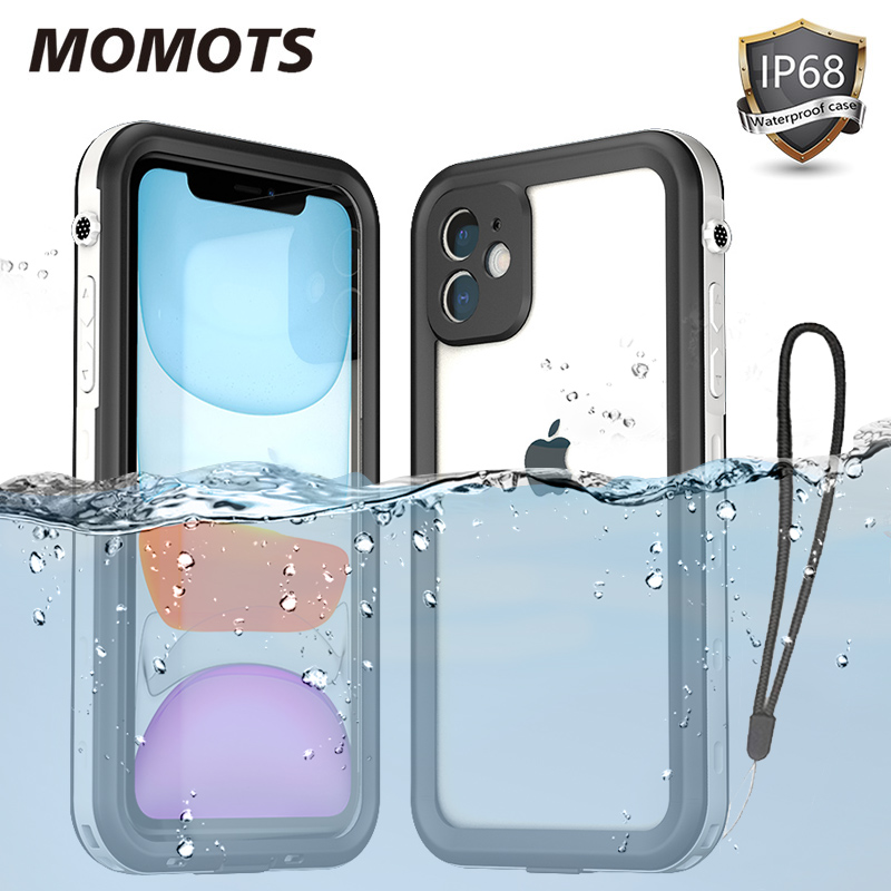 MOMOTS <font><b>360</b></font> Waterproof Case for iPhone 11 Pro Max XR XS MAX Shockproof Luxury Case for iPhone <font><b>6S</b></font> 7 8 Plus Transparent Cover image