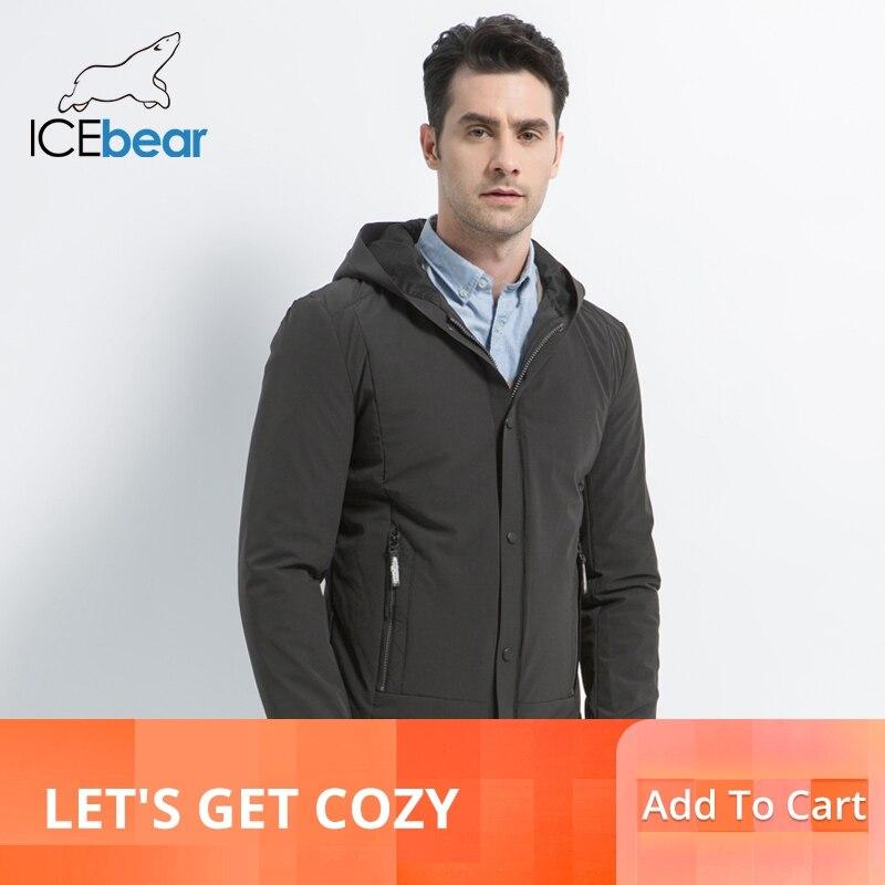 ICEbear 2019 جديد الرجال عارضة معطف الخريف رجل الدافئة أزياء العلامة التجارية الستر القطن مبطن معطف يندبروف معطف MWC18216D-في سترات فرائية مقلنسة من ملابس الرجال على  مجموعة 1
