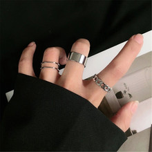 Oco para fora anéis redimensionáveis definido para as mulheres bandas jóias de casamento hip-hop rock metal cobre redondo 2020 novo geométrico presente de natal