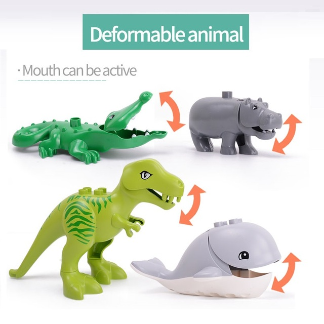 Duploed Set di Animali Building Blocks Figure Dinosauri Coccodrillo Elefante Zoo Serie FAI DA TE Blocchi Per Bambini Giocattoli Educativi Regali 2
