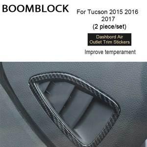 Image 1 - BOOMBLOCK 2x 자동차 대시 보드 공기 배출구 커버 탄소 섬유 스티커 액세서리 장식 자동차 현대 투손 2015 2016 2017