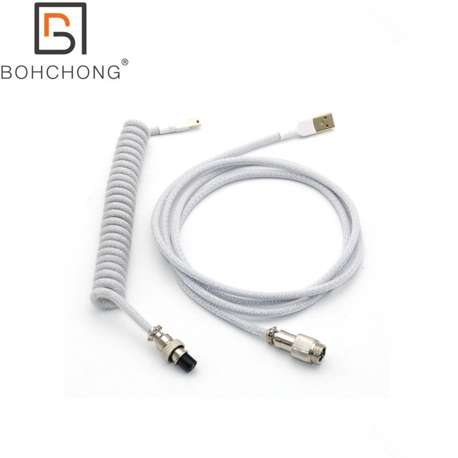 Custom Make Double Sleeved PET Coiled Coiling Type C Mini Micro USB Cable For Mechanical Keyboard Cable With GX12 Aviator