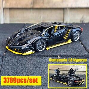 Новый супергоночный автомобиль Lamborghini, 100 лет, Centenario 1:8, для Lepinings Technic, модель для строительства, Подарочные игрушечные блоки