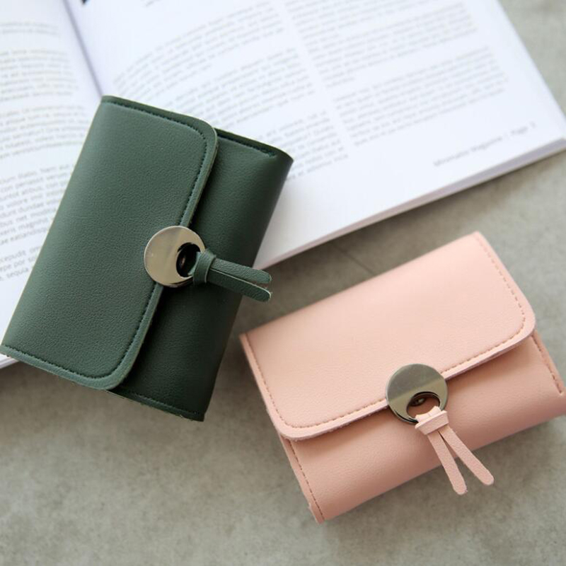 Fashion Women Short Purse PU Leather Card Holder Wallet Ladies Girls Casual Money Clutch Bag Solid