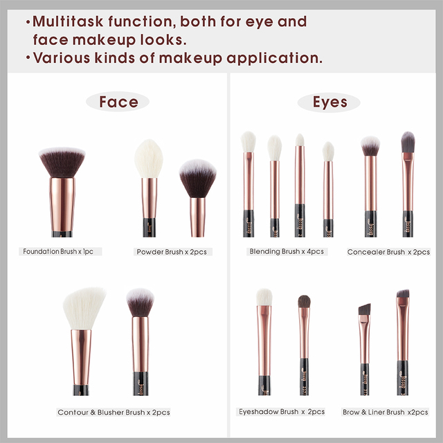 Jessup makeup brush set foundation buffer shader brush 15pcs Black/Rose gold Natural-Synthetic Hair pincel maquiagem Kit T160 3