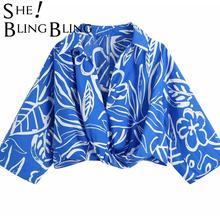 SheBlingBling mujeres México 2021 Azul frente fruncido VintageV-Cuello blusa verano vestido de impresión Mini Falda Mujer Chic Tops