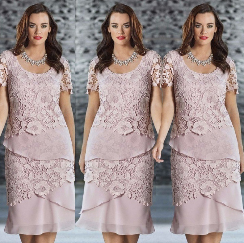 BacklakeGirls New Arrival Women's Solid Color Lace Short Sleeve Woman Cake Dress Brides Mother Dresses For Weddings Plus Size