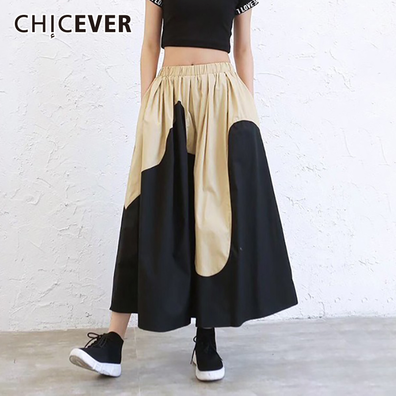 CHICEVER Spring Patchwork Hit Color Women Skirt High Elastic Waist Loose Plus Size A-line Mid-calf Female Skirts 2019 New