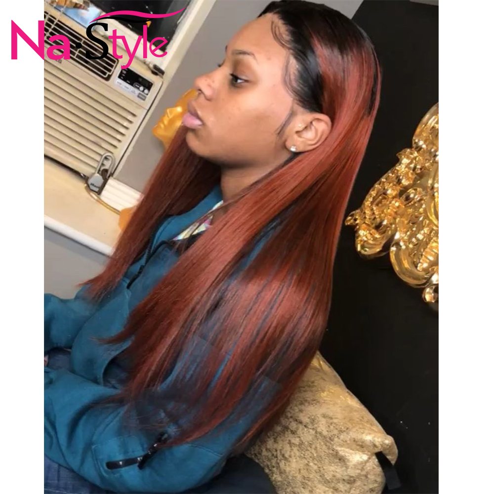 Ombre Ginger Wig 13x6 Lace Front Wig Dark Orange Colored Straight Human Hair Wigs For Black Women Pre Plucked Brazilian 130 Remy