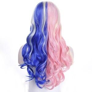 Image 2 - MUMUPI perruque synthétique longue 20 pouces pour déguisement dhalloween, perruque Harley Quinn rose, bleue, Ombre, perruque ondulée pour femmes