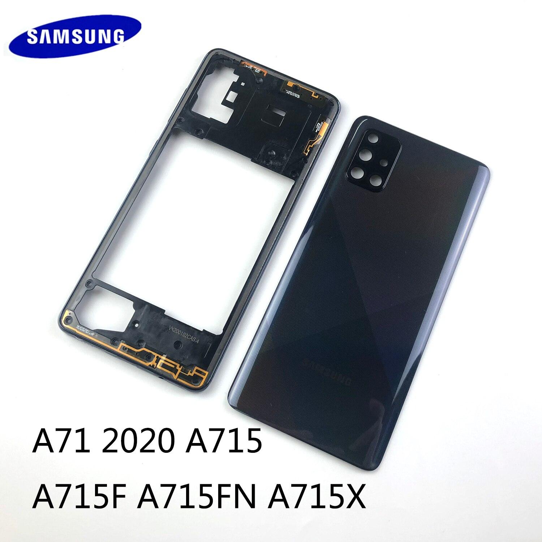 Для Samsung Galaxy A71 2020 A715 A715F Оригинальный Корпус Шасси средняя рамка аккумулятор чехол задняя крышка + объектив камеры запасные части