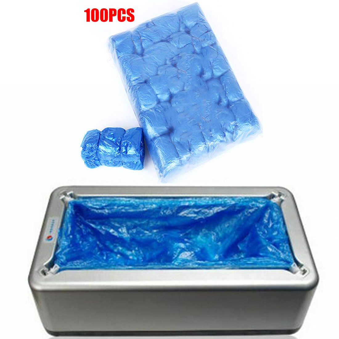 100pcs PE Blue T-type Single Use Shoe Cover Machine Convenient Covers Bags Replacement Outdoor Shoe Protection