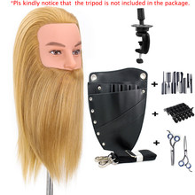 Tête de Mannequin en cheveux 90% naturels pour hommes, 14 pouces, entraînement à la pratique de la coiffure et de la barbe, pour l'école de beauté