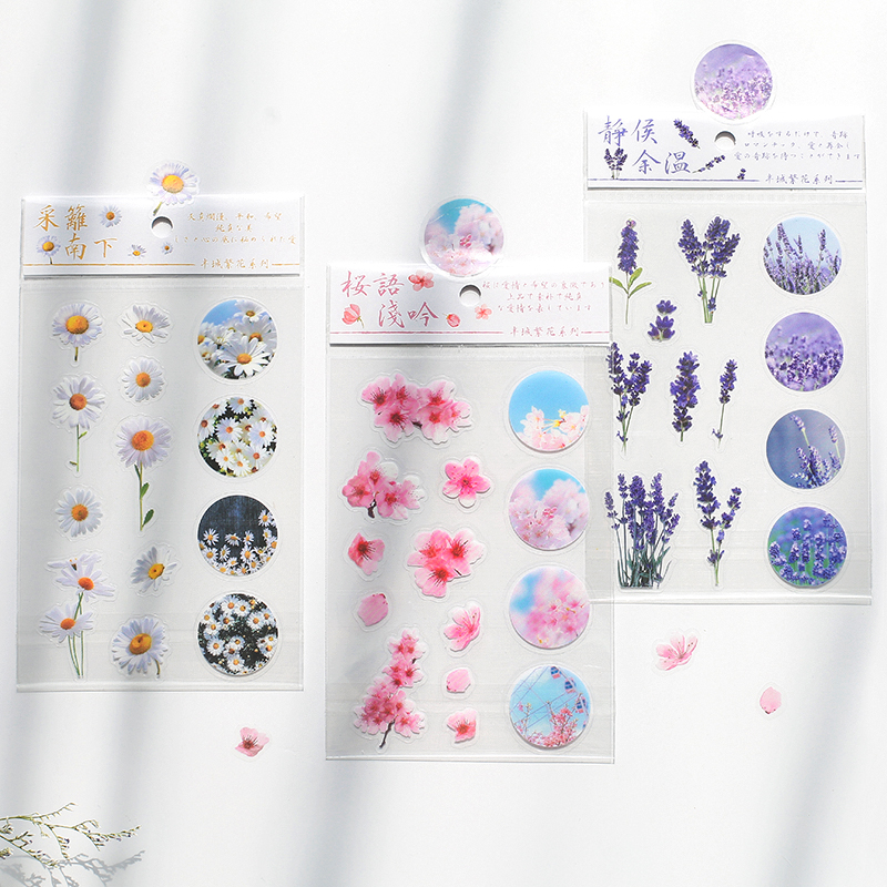 Half City Flower Series Journal Decorative PVC Stickers Scrapbooking Stick Label Diary Stationery Album Cherry Blossoms Sticker
